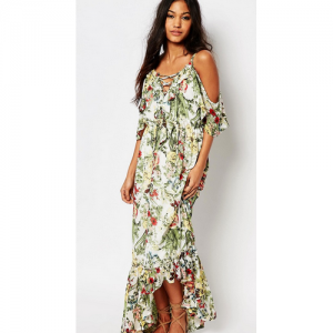 Boohoo Floral Print Ruffle Neck Maxi Dress